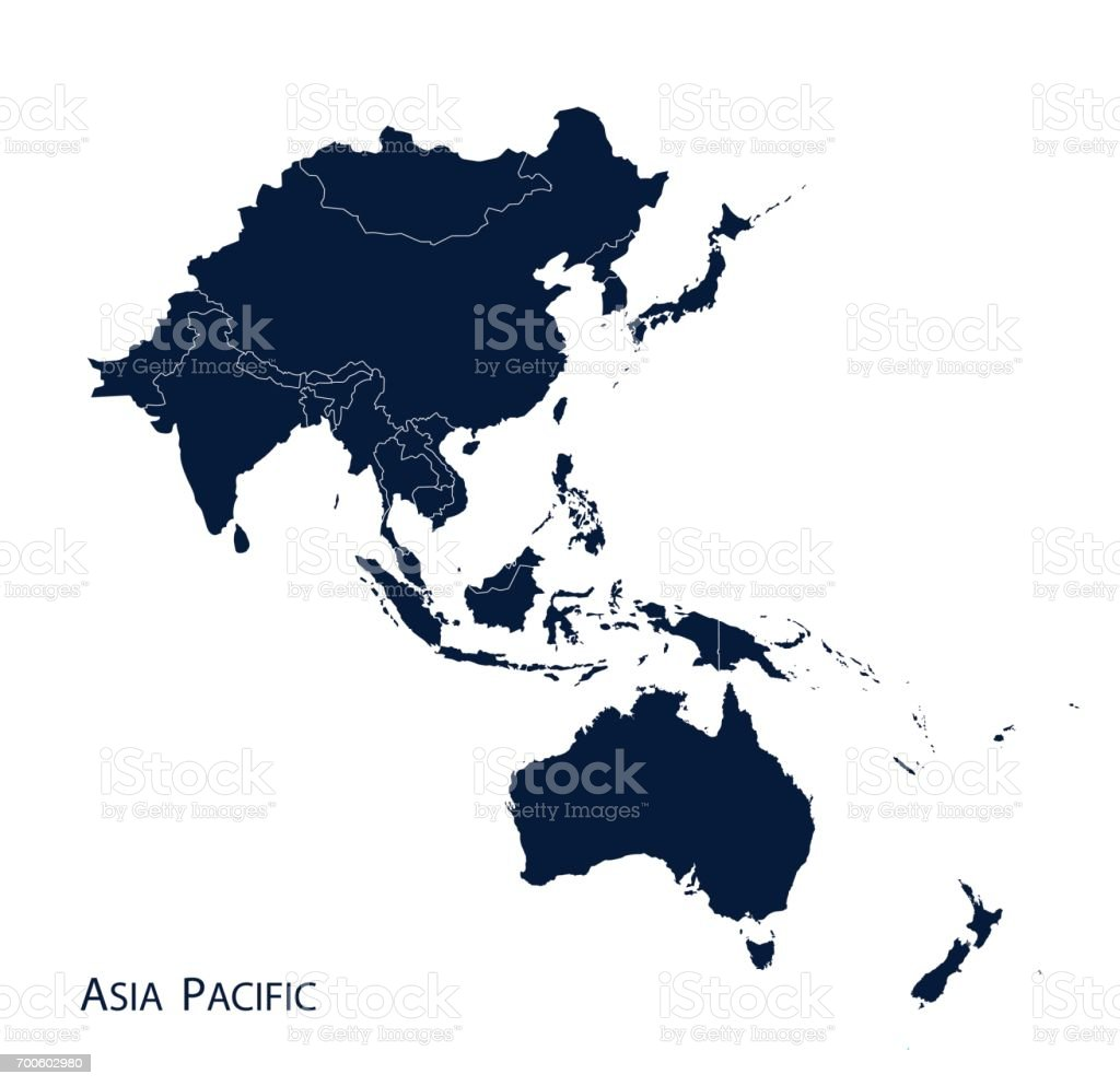 Map of Asia Pacific vector art illustration