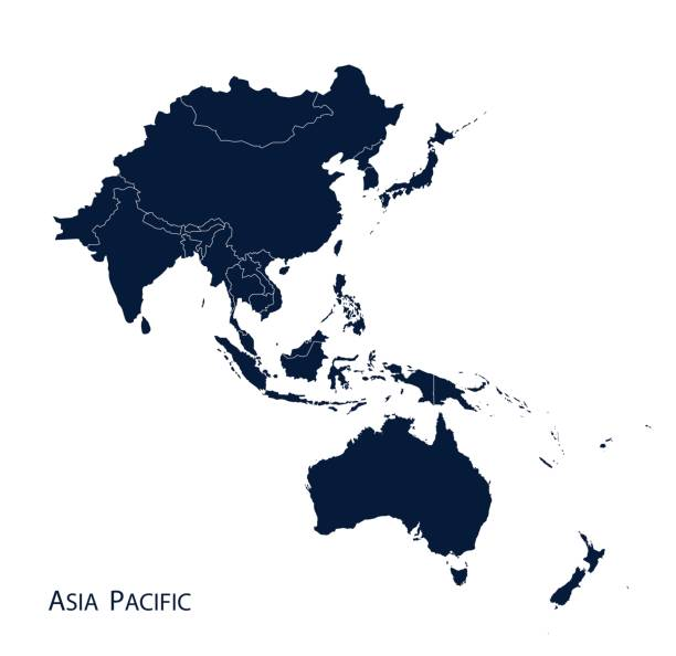 Map of Asia Pacific Map of Asia Pacific, Vector. oceania stock illustrations