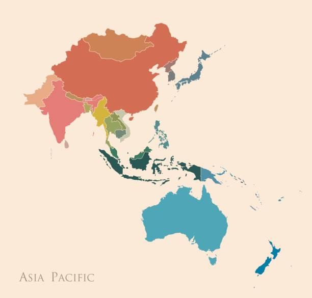 stockillustraties, clipart, cartoons en iconen met kaart van azië - laos indochina