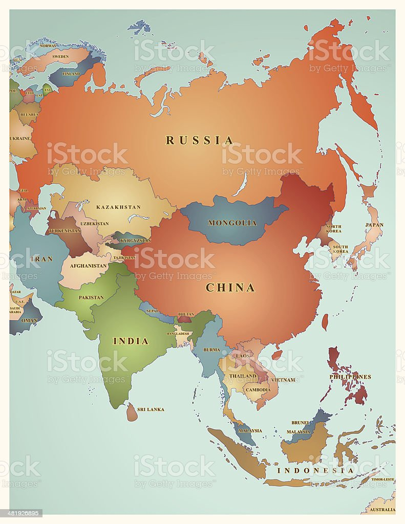 Map Of Asia royalty-free stock vector art