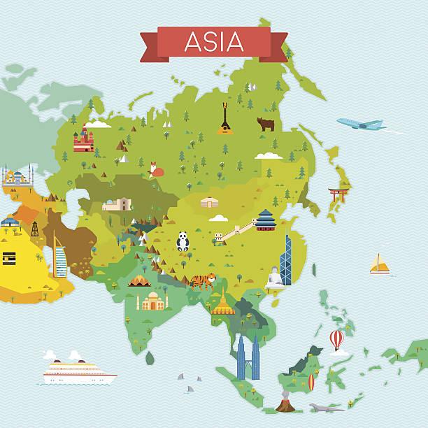 アジアのマップ - アジア地図点のイラスト素材/クリップアート素材/マンガ素材/アイコン素材