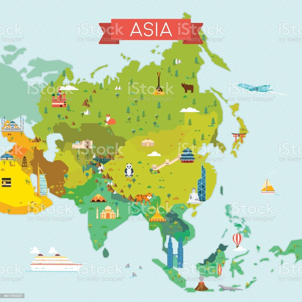 Map of Asia vector art illustration