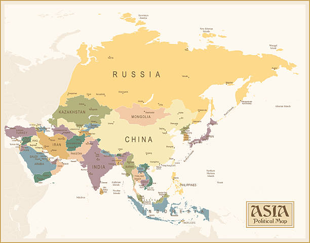 Vintage carte de l'Asie - Illustration vectorielle