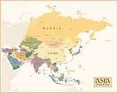 A map of Asian in pastel colors