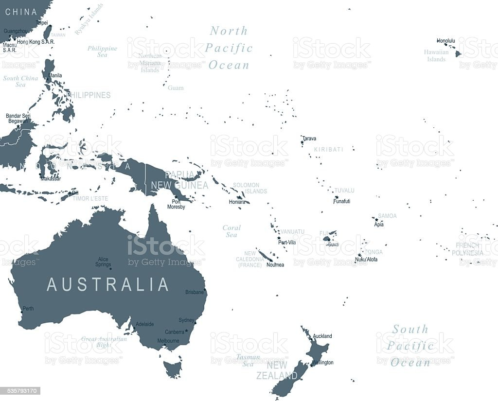 Map of Australia and Oceania vector art illustration