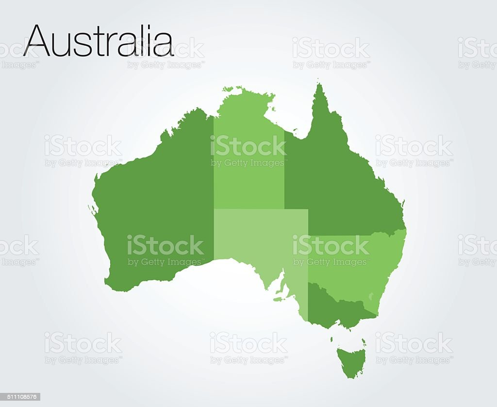 Map of Australia background vector art illustration