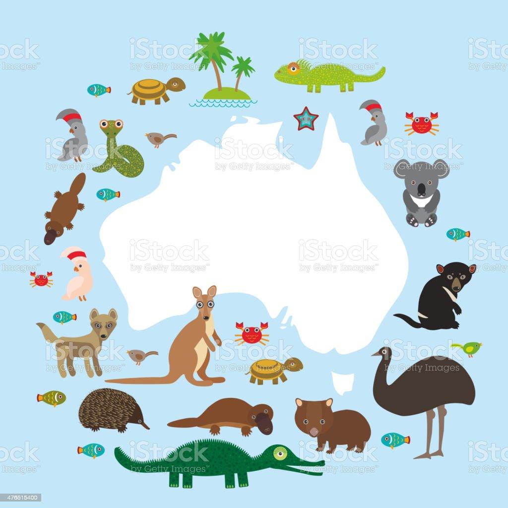 Ilustración de Mapa De Australia Equidna Platypus Avestruz La Uem ...