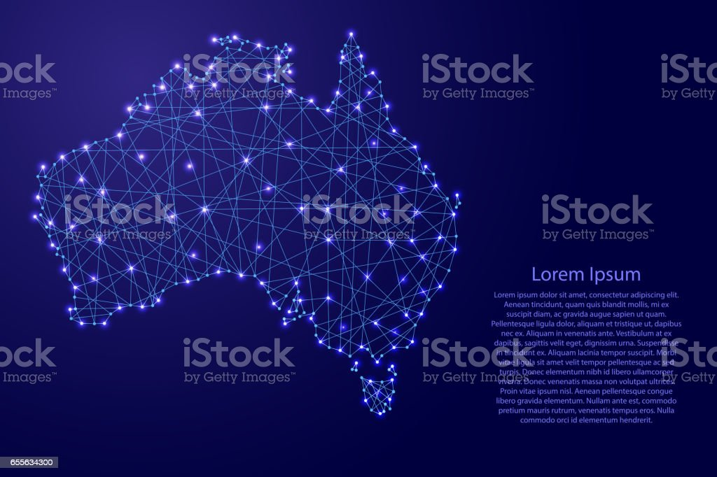 Map of Australia from polygonal blue lines and glowing stars vector illustration royalty-free map of australia from polygonal blue lines and glowing stars vector illustration stock illustration - download image now
