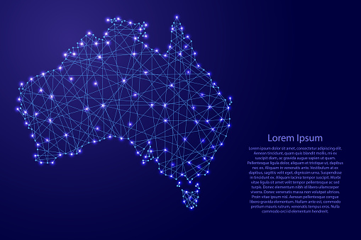 Map Of Australia From Polygonal Blue Lines And Glowing Stars Vector Illustration Stock Illustration - Download Image Now
