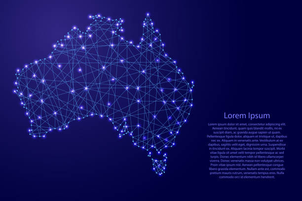 Map of Australia from polygonal blue lines and glowing stars vector illustration vector art illustration