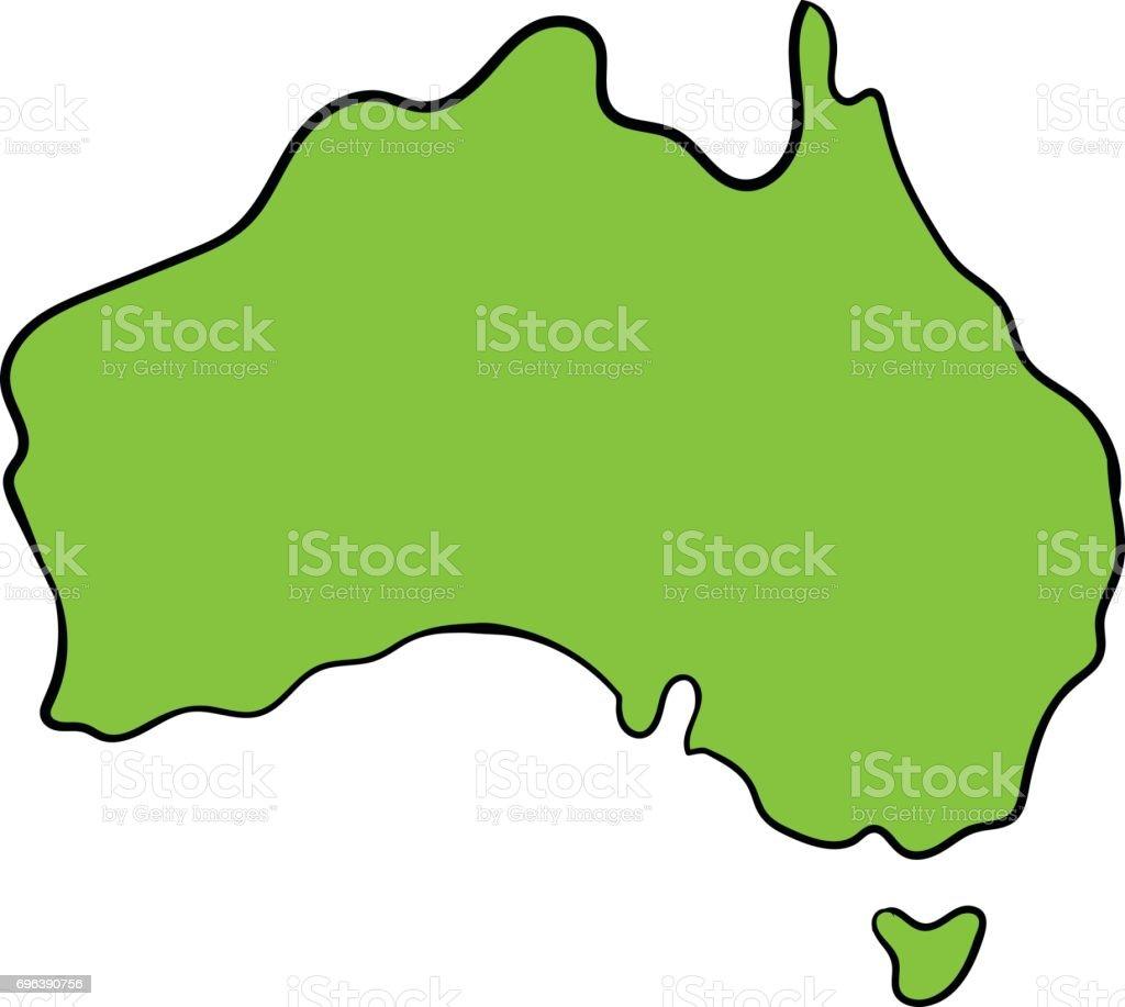 Australien Karta Lander.Karta Over Australien Ikonen Tecknad Vektorgrafik Och Fler Bilder Pa