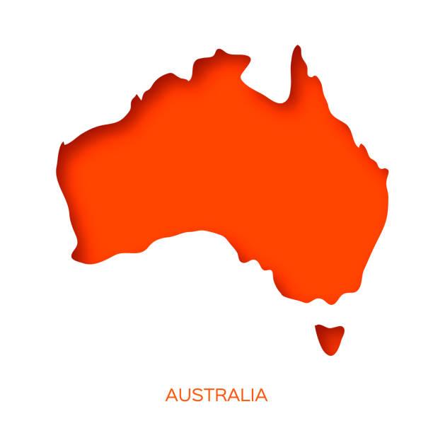 ilustraciones, imágenes clip art, dibujos animados e iconos de stock de mapa de australia en estilo de corte de papel. mundo en capas naranjasobre blanco. - australia