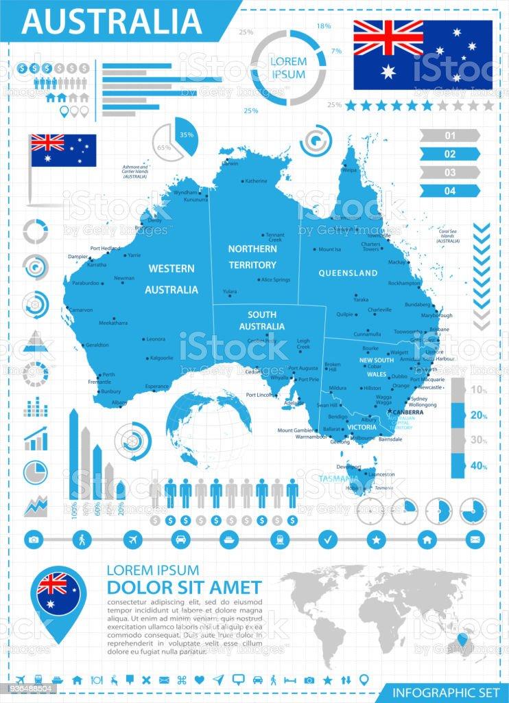 Karta Australien Adelaide.Karta Over Australien Infographic Vektor Vektorgrafik Och Fler