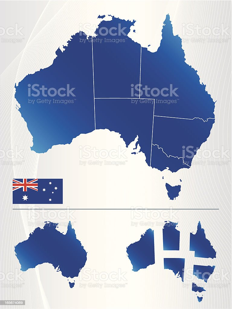 Map of Australia showing states and flag vector art illustration