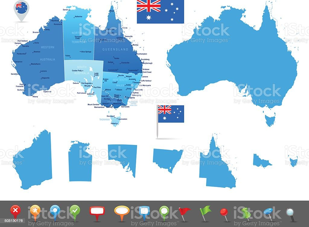Map of Australia - states, cities and navigation icons vector art illustration