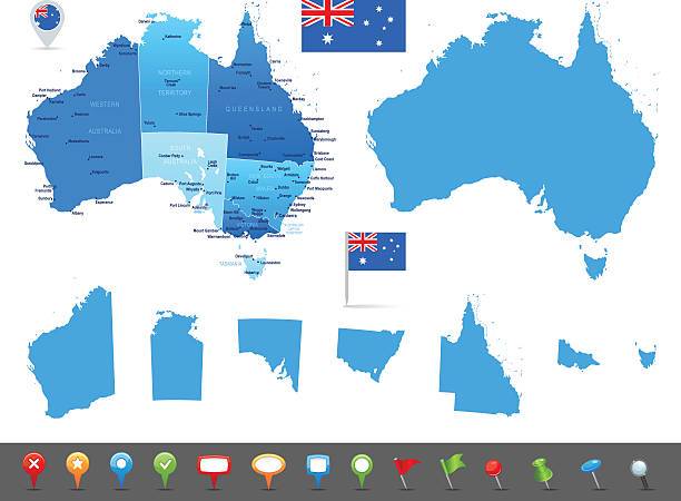 ilustraciones, imágenes clip art, dibujos animados e iconos de stock de mapa de australia-estados, las ciudades y los iconos de navegación - australia