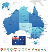 Map of Australia - states, cities, flag and navigation icons