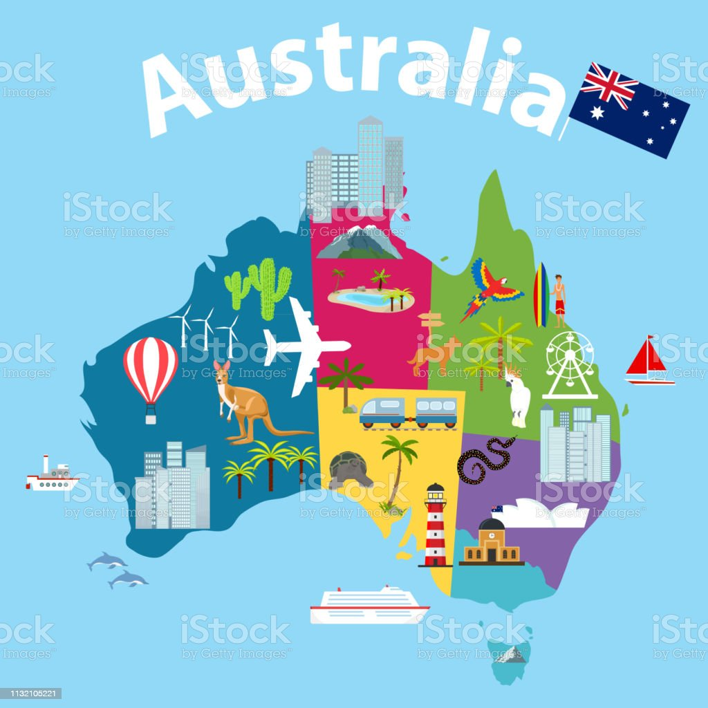 Map Of Australia With Landmarks.Map Of Australia Tourist Map Of Australia Cartoon Map Of Australia