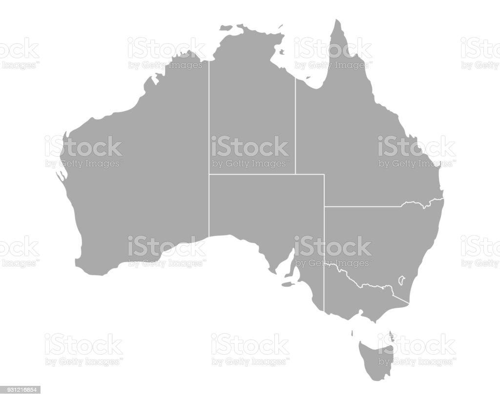 Map of オーストラリア ベクターアートイラスト