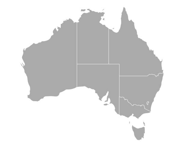 Map of Australia vector art illustration