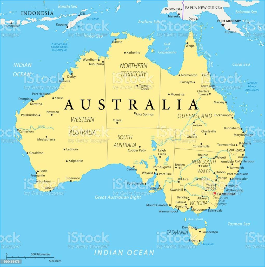 オーストラリア - ベクトルの地図 ベクターアートイラスト