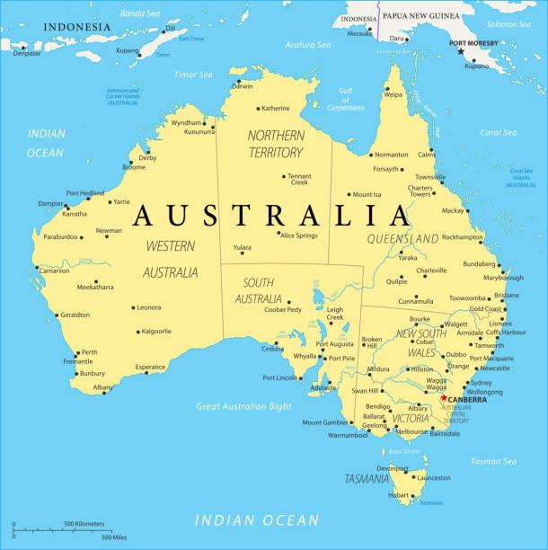 bildbanksillustrationer, clip art samt tecknat material och ikoner med karta över australien - vektor - australia