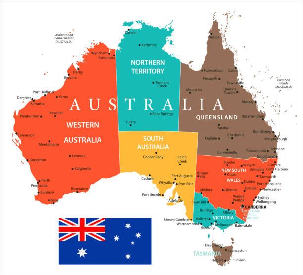 map of australia - vector - western australia stock illustrations