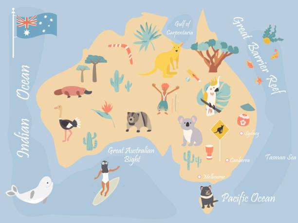 ilustraciones, imágenes clip art, dibujos animados e iconos de stock de mapa de australia con monumentos históricos y la fauna - australia