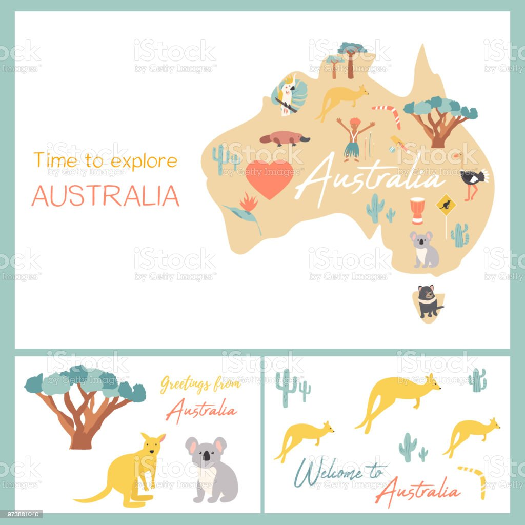 Australia Map Landmarks.Map Of Australia With Landmarks And Wildlife Stock Illustration