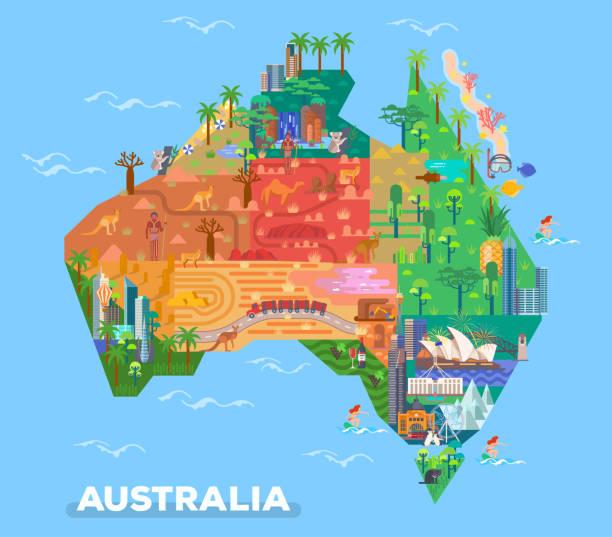 ilustraciones, imágenes clip art, dibujos animados e iconos de stock de mapa de australia con hitos de la arquitectura - australia