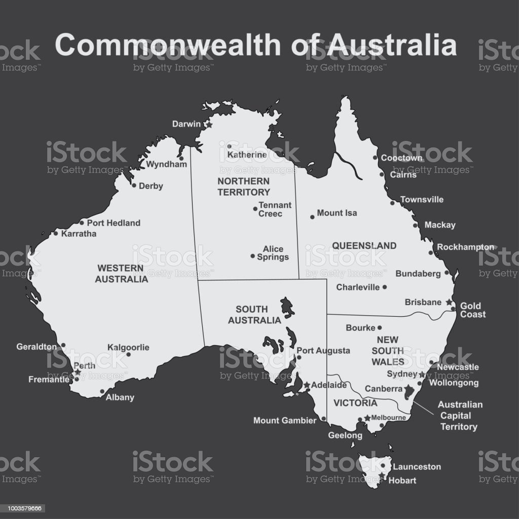 map of australia with major towns and cities vector illustration royalty free map of