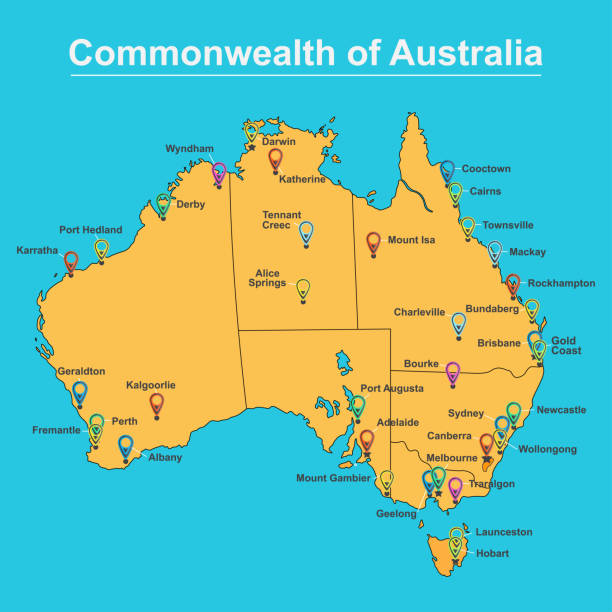 Map Of Australia with major Towns and Cities, vector illustration vector art illustration