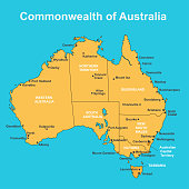 australia road map map of australia with major towns and cities vector illustration