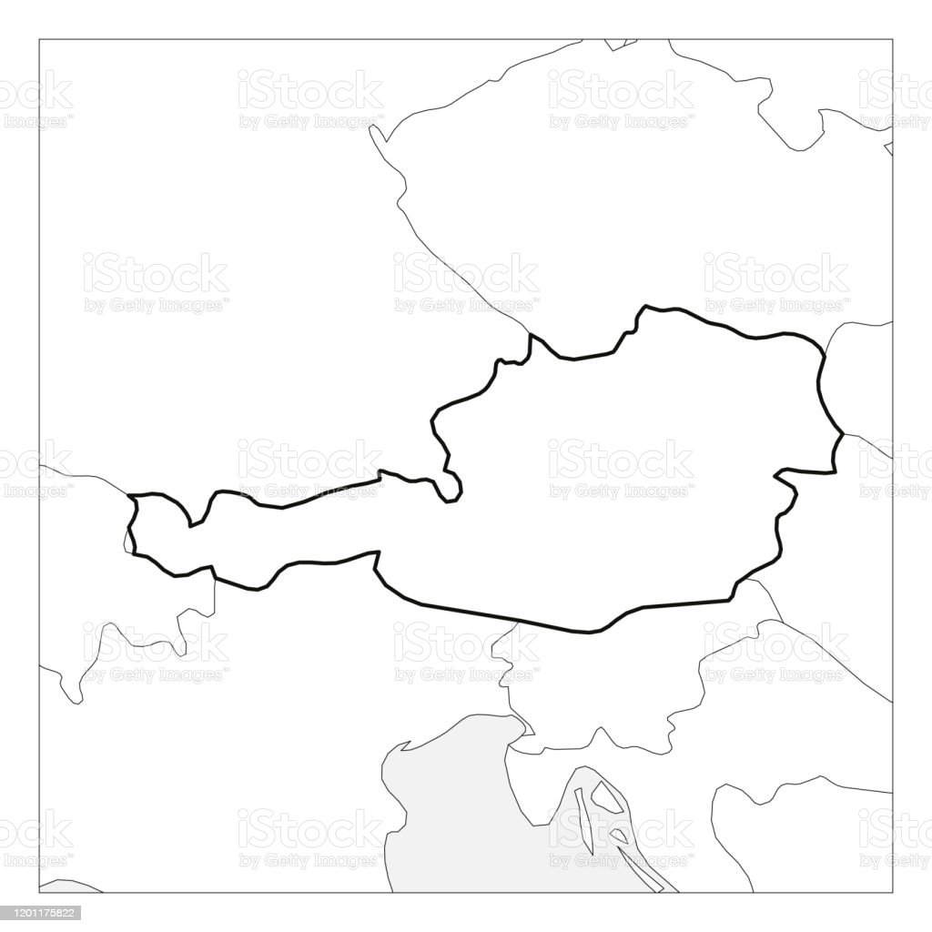Picture of: Map Of Austria Black Thick Outline Highlighted With Neighbor Countries Stock Illustration Download Image Now Istock