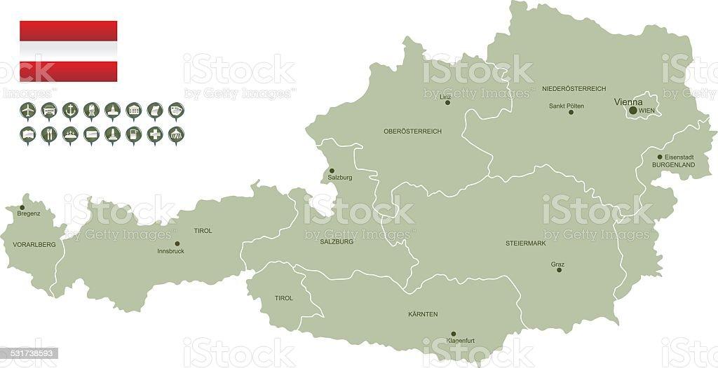 Map of Austria vector art illustration