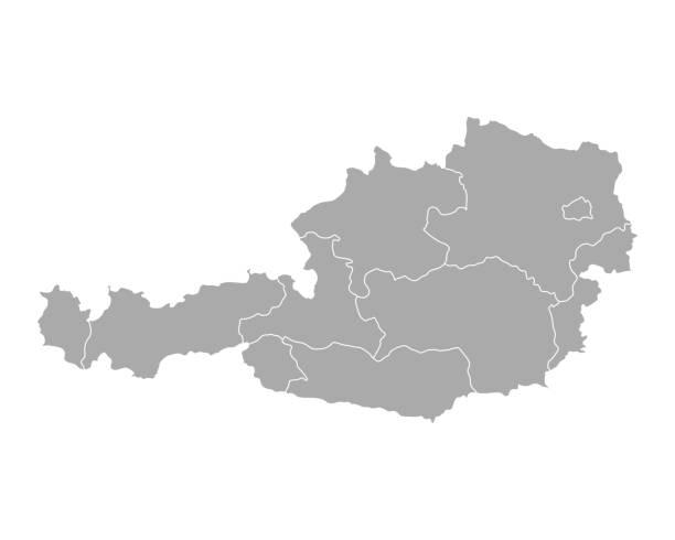 bildbanksillustrationer, clip art samt tecknat material och ikoner med karta över österrike - salzburg