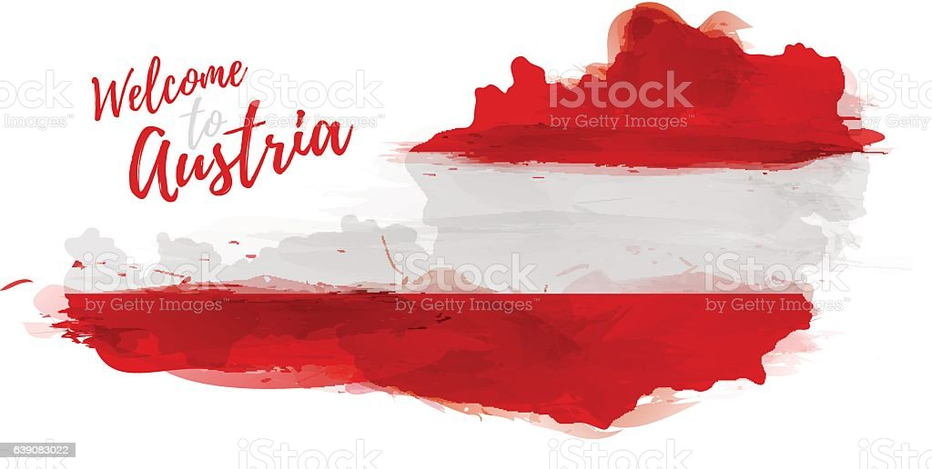 Map of Austria with the decoration of the national flag. vector art illustration