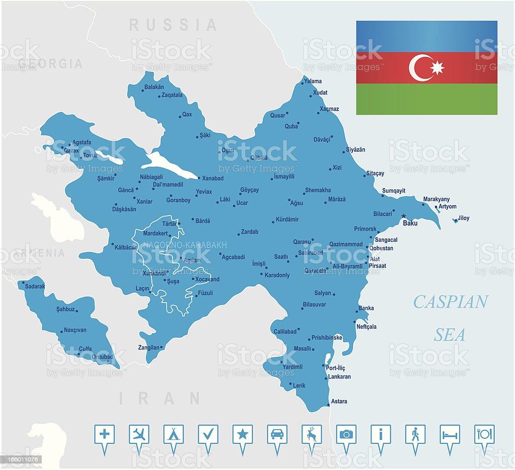 Map of Azerbaijan- states, cities, flag, navigation icons royalty-free map of azerbaijan states cities flag navigation icons stock vector art & more images of armenia - country