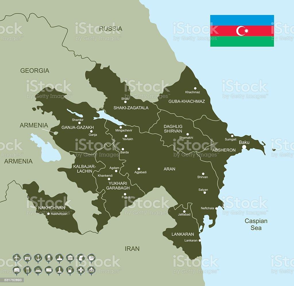 Map of Azerbaijan vector art illustration