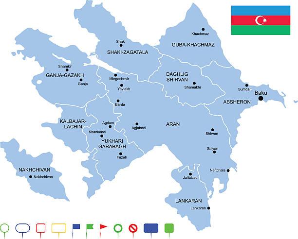 Map of Azerbaijan Detailed map of Azerbaijan with pointers. azerbaijan stock illustrations