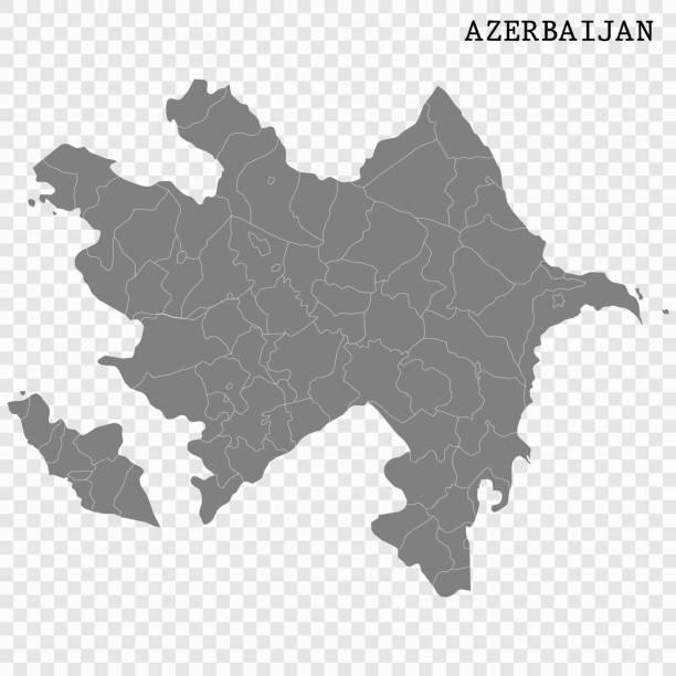 Map of Azerbaijan High quality map with borders of the regions azerbaijan stock illustrations