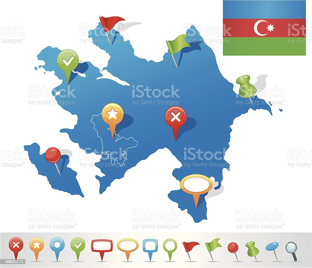 Map of Azerbaijan with navigation icons royalty-free stock vector art