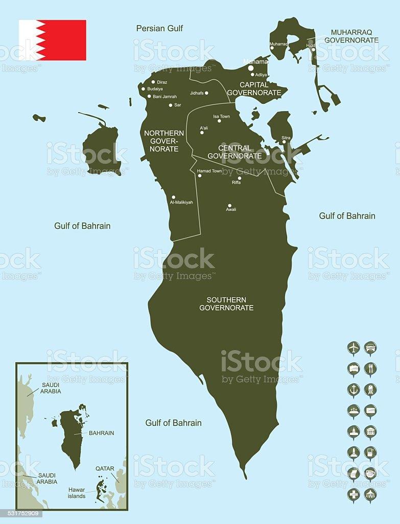 Map of Bahrain vector art illustration