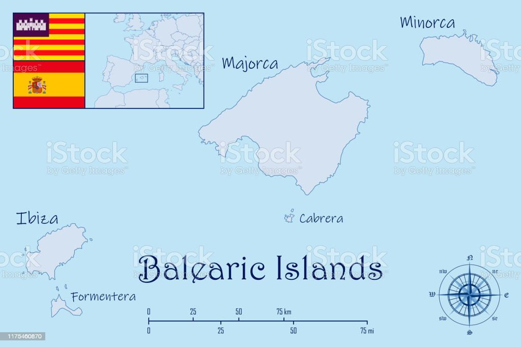 Map Of Balearic Islands With Flags Stock Illustration Download Image Now Istock