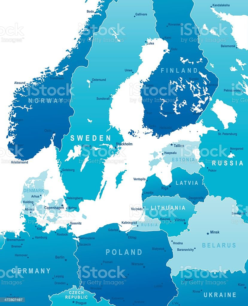 Map Of Baltic Sea Area States And Cities Stock Vector Art More