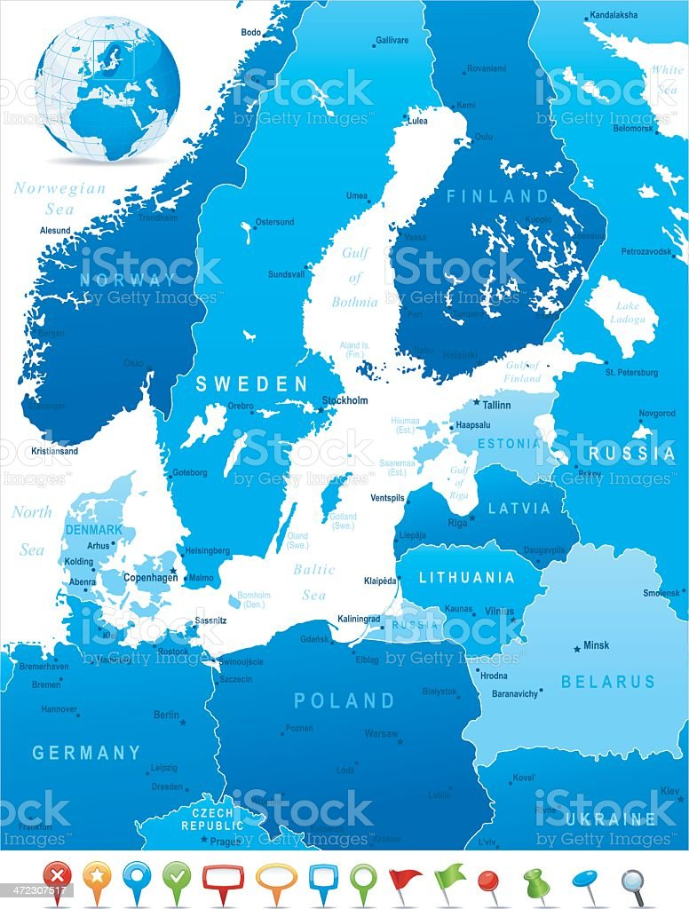 Map of Baltic Sea Area - states, cities and icons vector art illustration