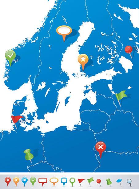 karte der ostsee-bereich mit navigation symbole - ostsee stock-grafiken, -clipart, -cartoons und -symbole