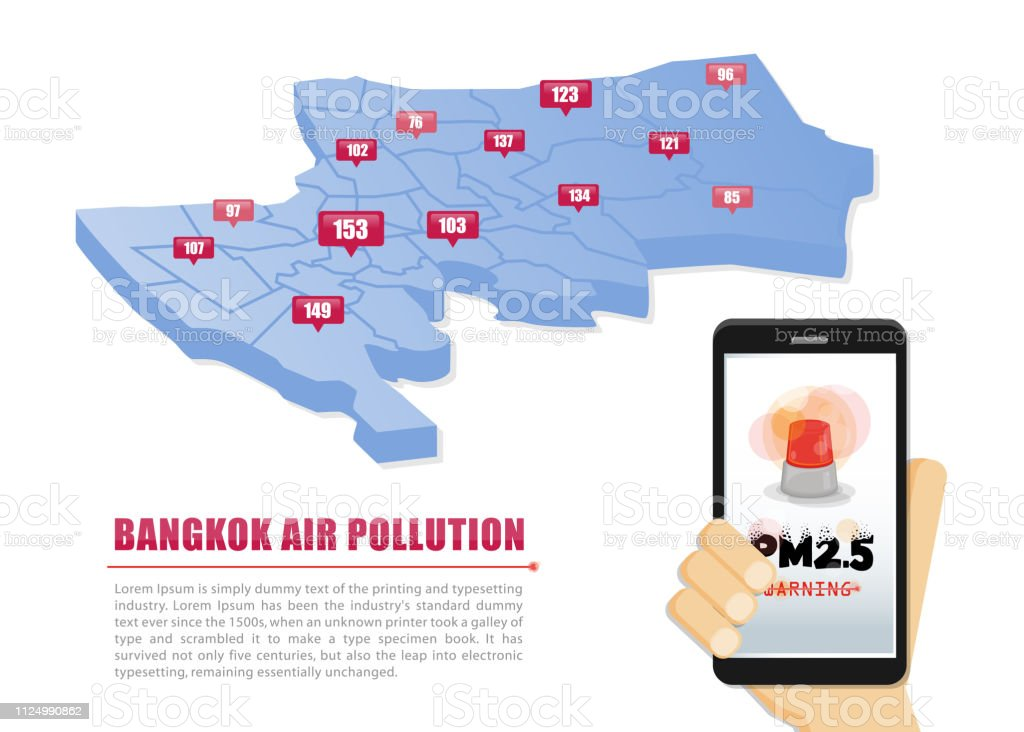 Map of Bangkok the capital of Thailand. Warning about PM2.5 dust in excess of standards in Bangkok. Bangkok air pollution