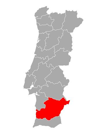 Map of Beja in Portugal