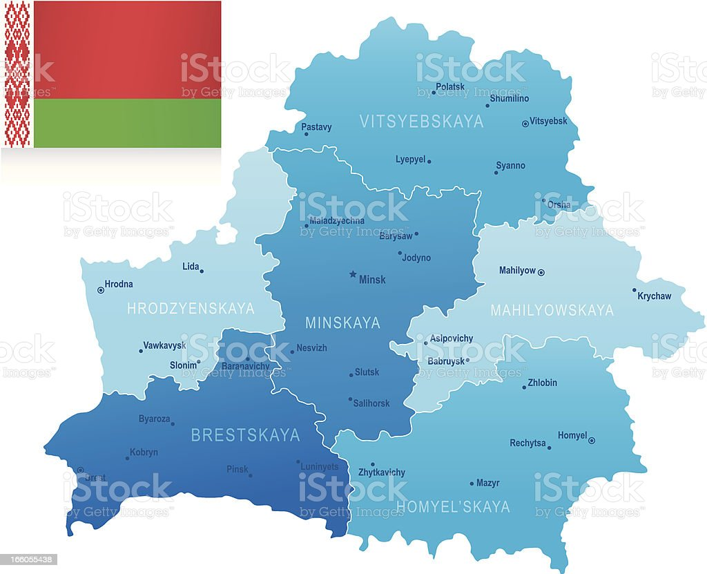 Map of Belarus - states, cities and flag vector art illustration